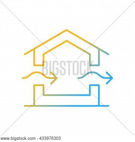 Ventilation System Gradient Linear Vector Icon. Providing Natural Ventilation In Building. Prevent C