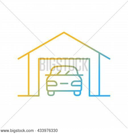 Parking Space Nearby Gradient Linear Vector Icon. Residential Garage. Accessible Space For Vehicles.