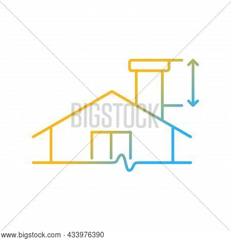 Minimum Chimney Height Gradient Linear Vector Icon. Building Requirements. Install Flue In Residenti