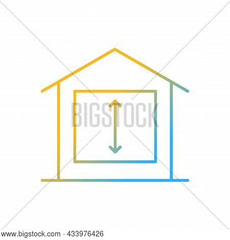 Minimum Ceiling Heights Gradient Linear Vector Icon. Standards For Habitable Rooms. Residential Dwel