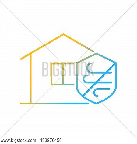 Weather Resistance Gradient Linear Vector Icon. Weatherproofing Apartment Building. Hurricane-resist