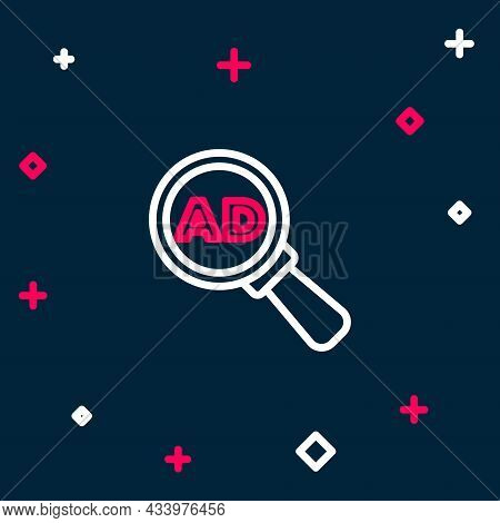 Line Advertising Icon Isolated On Blue Background. Concept Of Marketing And Promotion Process. Respo