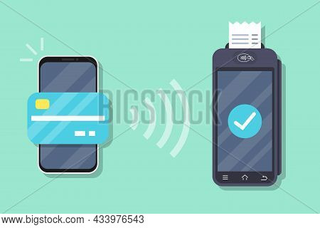Successful Payment Operation. Pos Terminal Confirms The Payment By Smartphone. Smartphone With Mobil