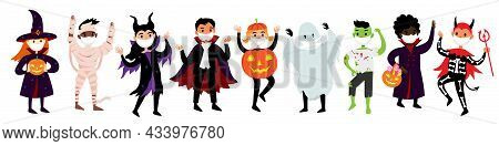 Halloween Set Of Kids In Costumes And Medical Protective Masks From Covid-19. Vector Diverse Cute An