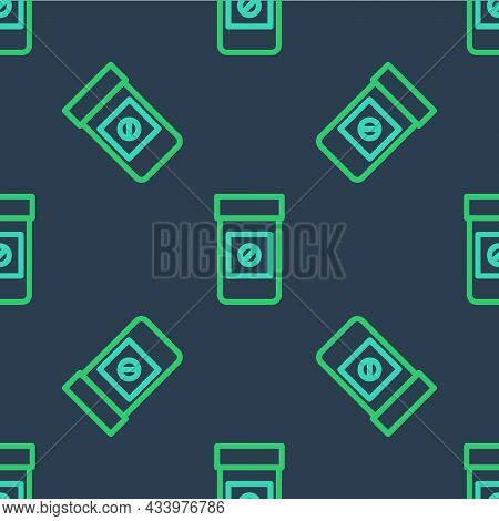 Line Sports Doping, Anabolic Drugs Icon Isolated Seamless Pattern On Blue Background. Anabolic Stero