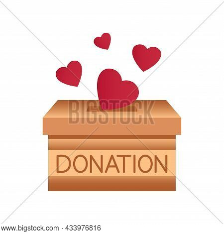 Donation Box. Throwing Hearts In A Box For Donations. Donate, Giving Money And Love. Concept Of Char
