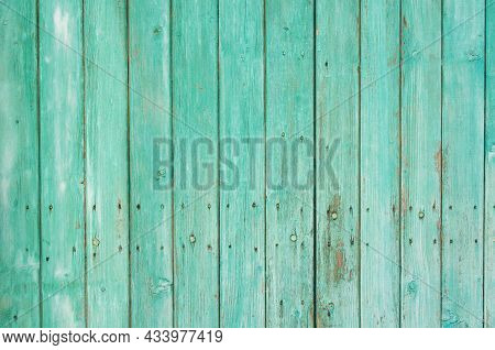 Background From Wooden Vertical Planks, Painted In A Beautiful Light Green Color, A Little Shabby, N
