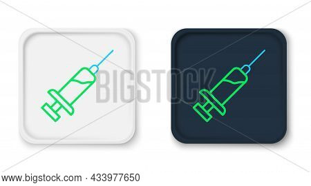 Line Syringe With Serum Icon Isolated On White Background. Syringe For Vaccine, Vaccination, Injecti