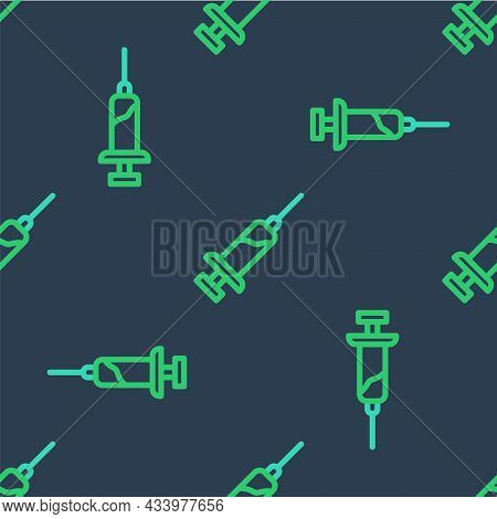 Line Syringe With Serum Icon Isolated Seamless Pattern On Blue Background. Syringe For Vaccine, Vacc