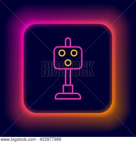 Glowing Neon Line Train Traffic Light Icon Isolated On Black Background. Traffic Lights For The Rail
