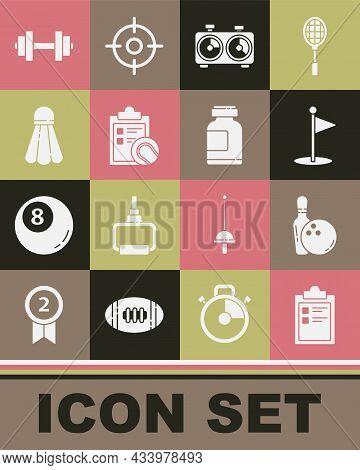 Set Sport Training Program, Bowling Pin And Ball, Golf Flag, Time Chess Clock, Checklist Clipboard T