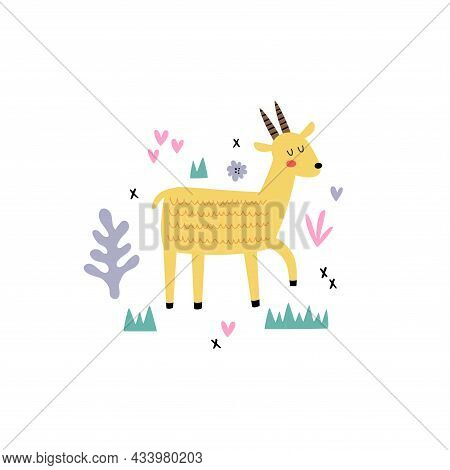 Vector Illustration Of A Cute Yellow Gazelle