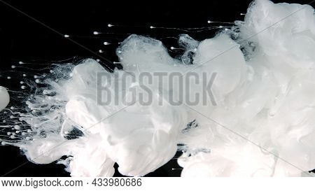 Awesome Abstract Background. Beautiful Wallpaper For Your Desktop. White Cloud Of Ink On A Black Bac