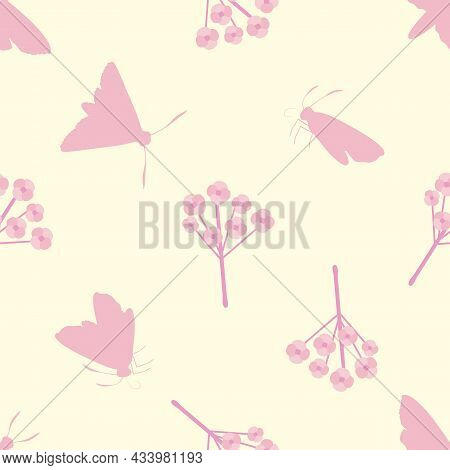 Butterfly Floral Vector Seamless Pattern Background. Backdrop With Varied Silhouettes Of Butterflies