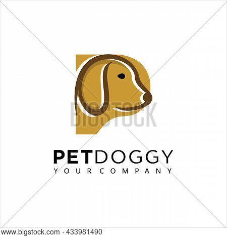 Letter P Logo Design In Combination With Dogs. Dog Combined With The Letter P. Logo Is Suitable For