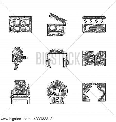 Set Headphones, Cd Or Dvd Disk, Curtain, Old Film Movie Countdown Frame, Cinema Chair, Retro Cinema