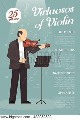 Music Advertising Poster With Virtuoso Of Violin Image And Information About Concert Date Flat Vecto