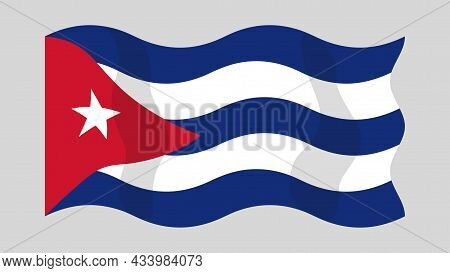 Detailed Flat Vector Illustration Of A Flying Flag Of Cuba On A Light Background. Correct Aspect Rat