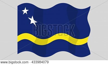 Detailed Flat Vector Illustration Of A Flying Flag Of Curaçao On A Light Background. Correct Aspect