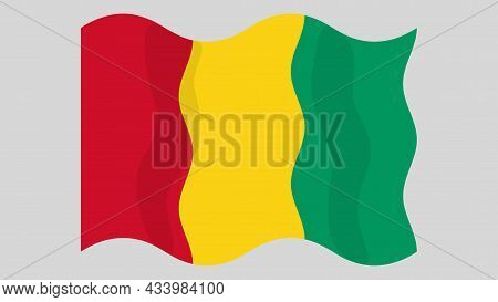 Detailed Flat Vector Illustration Of A Flying Flag Of Guinea On A Light Background. Correct Aspect R