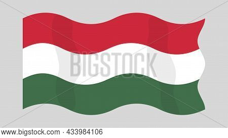 Detailed Flat Vector Illustration Of A Flying Flag Of Hungary On A Light Background. Correct Aspect