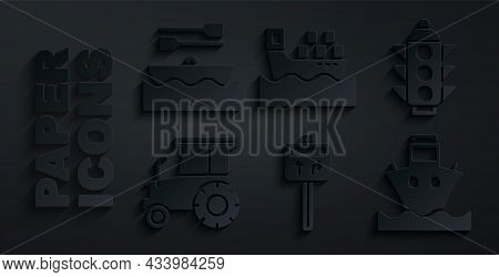 Set Road Traffic Signpost, Traffic Light, Tractor, Cargo Ship, With Boxes And Boat Oars Icon. Vector