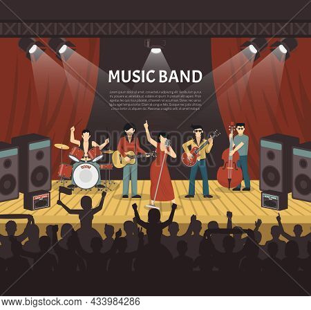 Pop Music Band Flat Vector Illustration With Musicians On Stage And Silhouettes Of Young Audience Co