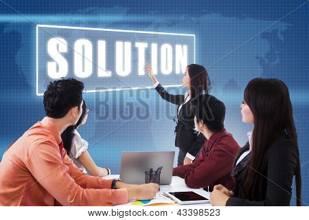 Business Meeting With Presentation A Solution
