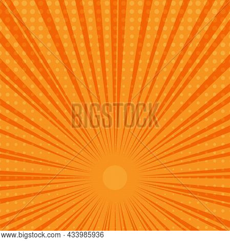 Orange And Yellow Starburst Background, Vector Illustration