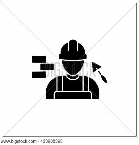 Builder Glyph Icon. Man Build Or Repair Houses.construction Worker. Important Job.professions Concep