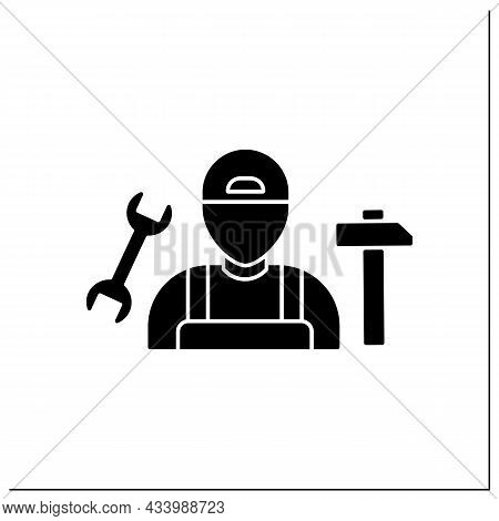 Handyman Glyph Icon.fixer, Handyperson And Handyworker.repairs Home.important Job.professions Concep