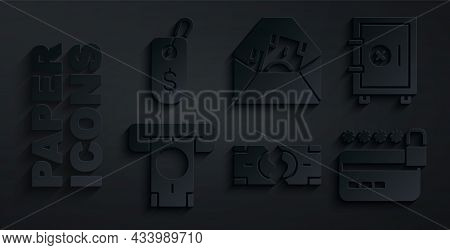 Set Tearing Money Banknote, Safe, Atm And, Credit Card With Lock, Envelope Dollar Symbol And Price T