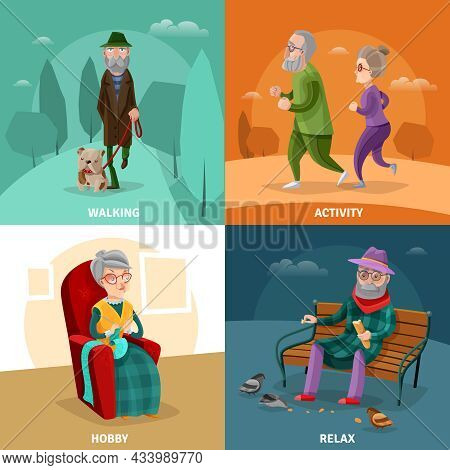 Old People Cartoon Concept With Different Activities And Recreation At Mature Age Vector Illustratio