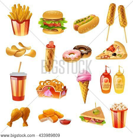 Fast Food Restaurant Menu Colorful Icons Collection With Hotdog Pizza Chicken Drumsticks Ketchup And