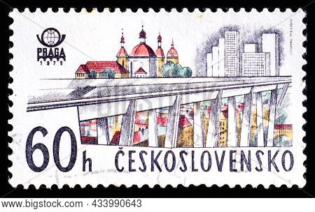 Czechoslovakia - Circa 1978: A Stamp Printed In Czechoslovakia Shows Overpass In Prague