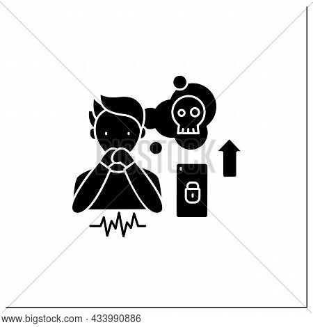 Smartphone Addiction Glyph Icon. Increasing Stress. Anxiety Rising. Depression. Stressful Situation.