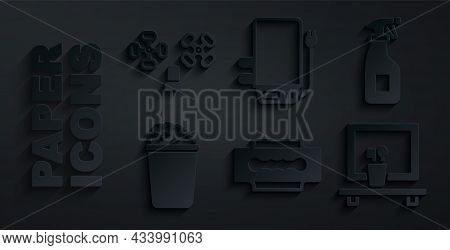 Set Blade Razor, Cleaning Spray Bottle, Bucket With Soap Suds, Washbasin Mirror, Electric Boiler And