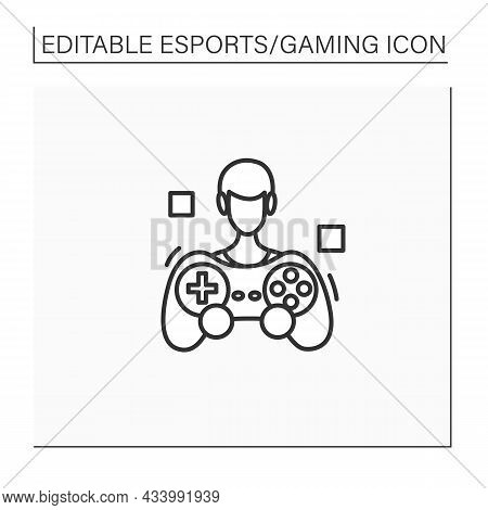 Game Player Line Icon. Video Game Fan. People Like To Play Games, Take Part In Esports Competitions.