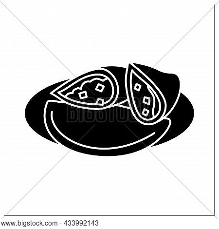 Afro-caribbean Food Glyph Icon. Meat Pie. Tart With Chunky Meat Filling. Traditional Dish. Local Foo
