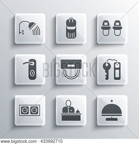 Set Hotel Reception Desk, Covered With Tray, Door Lock Key, Bellboy Hat, Electrical Outlet, Door Han