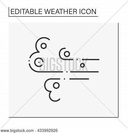Wind Line Icon. Windy Weather. Floating Clouds. Air Blowing In Directions. Forecast. Weather Concept