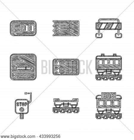 Set Road Traffic Signpost, Cargo Train Wagon, Restaurant, Passenger Cars, Emergency Brake, Smoking A