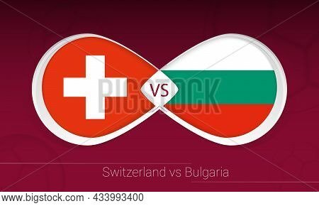 Switzerland Vs Bulgaria In Football Competition, Group C. Versus Icon On Football Background. Vector