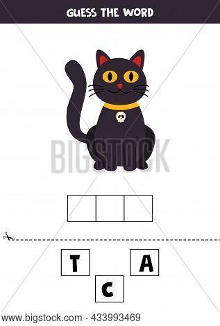 Spell The Word Cat. Vector Illustration Of Black Cat. Spelling Game For Kids.