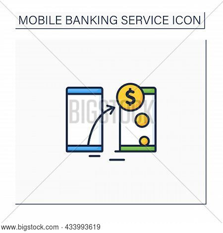 Transfer Funds Color Icon. Transaction Money From One Device To Another. Instant Transit Using Phone