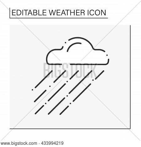 Drizzle Line Icon. Shallow Rain From Cloud.freezing Mist. Rainy Clouds. Overcast And Rainy Weather.