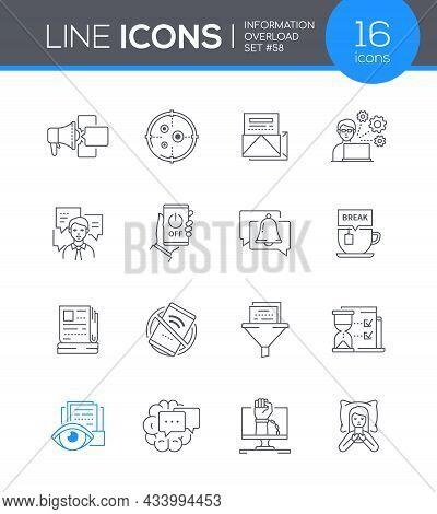 Information Overload - Modern Line Design Style Icon Set