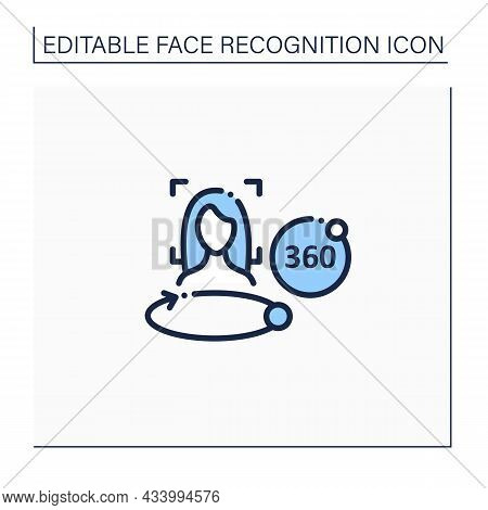 360 Degree Face Scan Line Icon. Three-dimensional Face Scanning.biometric Face Detection.identity De