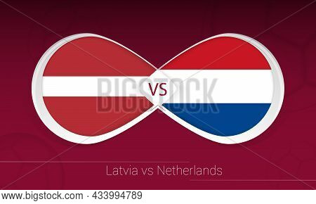 Latvia Vs Netherlands In Football Competition, Group G. Versus Icon On Football Background. Vector I