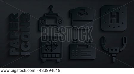 Set Airport Board, Helicopter Landing Pad, Radar With Targets On Monitor, Aircraft Steering Helm, Pi